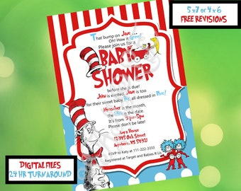Dr Seuss Baby Shower Invitation, Dr Seuss party invitation, Dr Seuss printable invitation, Cat in the hat baby shower