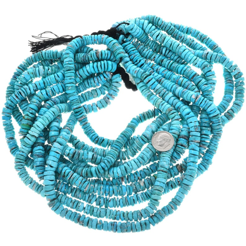 Turquoise Heishi Natural Kingman 9mm Heishi Beads 5075