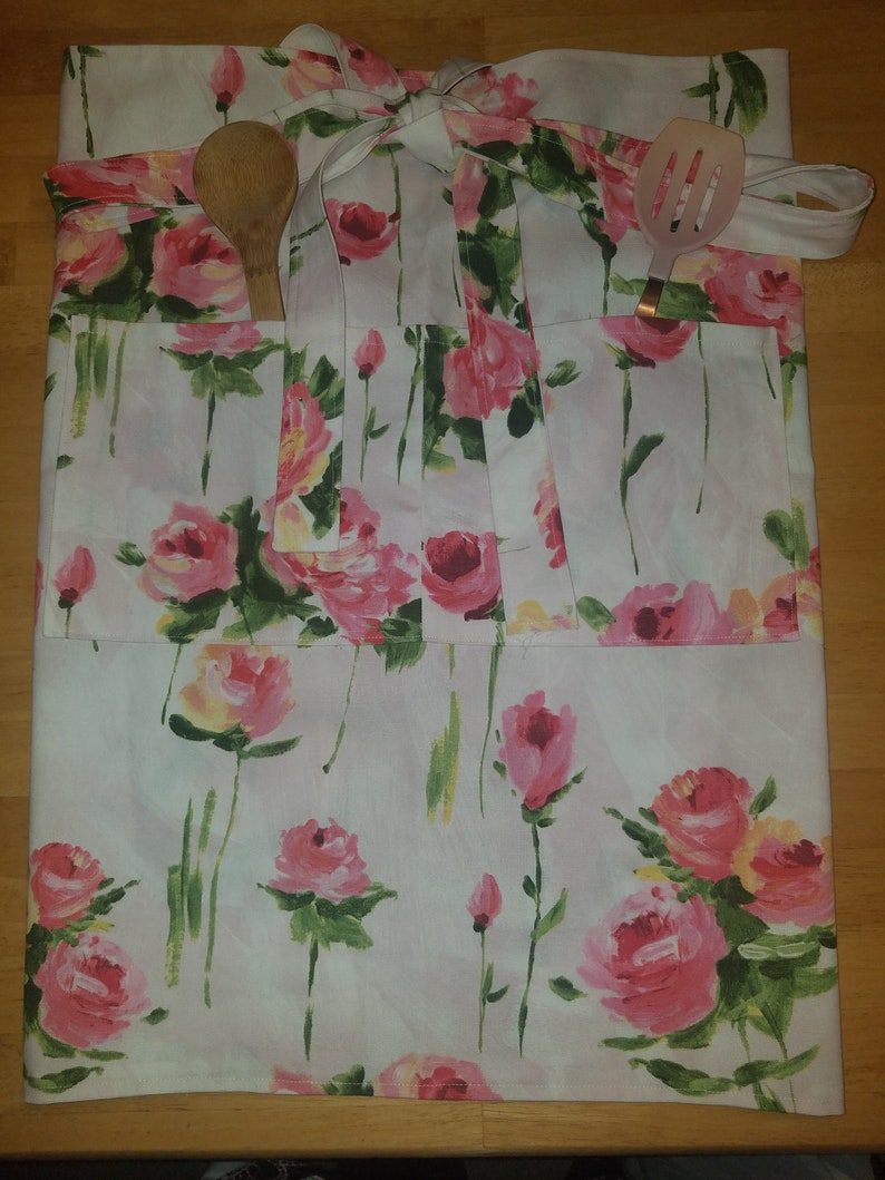 blush pink and roses cotton Handmade unique apron 2 pockets
