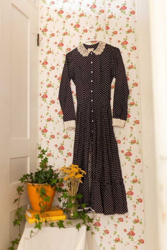 1970's gunne sax button up navy midi dress
