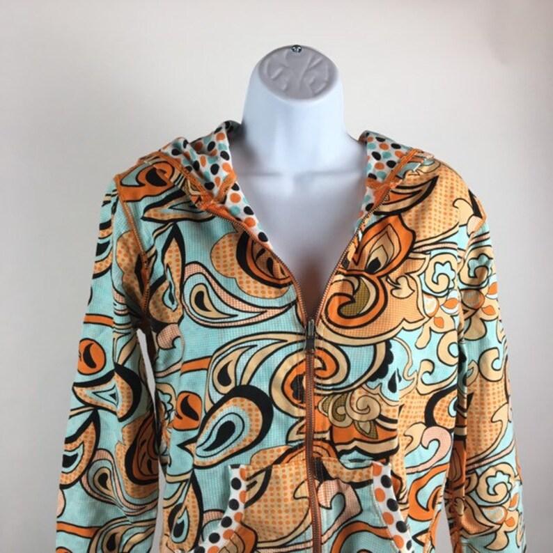 Retro Sweatshirt Women/'s Large Multicolor Orange Paisley