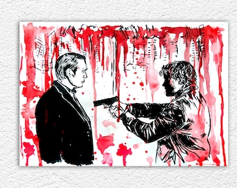 I can see you now. Hannibal Lecter and Will Graham - Murder Husbands -Watercolor art - Photographic print Wall Art Fan Art decor