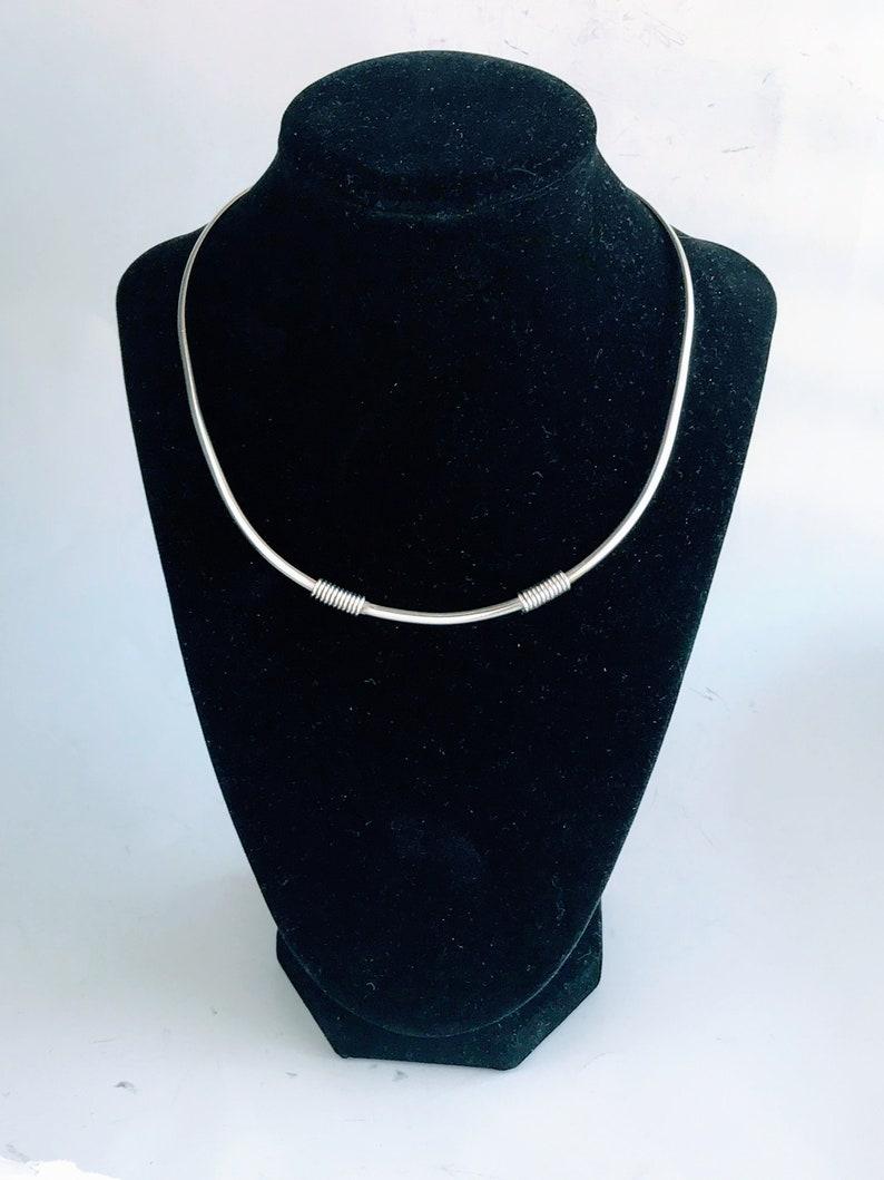 Contemporary Minimalist Coiled Cuff Necklace Modernist 3.5mm 925 Silver Wire Twist Choker Retro 925 Sterling Silver Torque Collar Necklace