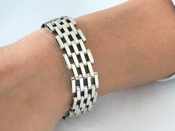 bold vintage taxco heavy sterling silver statement cuff bracelet