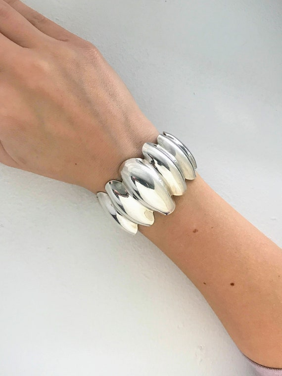 Vintage hammered silver extra wide cuff boho shabby tribal unique gift