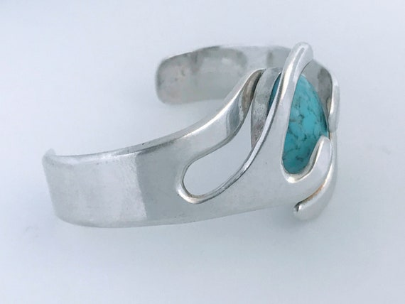 Chunky Abstract Ethnic Style Cuff Modern Southwest Sterling Silver Blue Stone Cuff Bracelet Contemporary Tribal 925 Silver Blue Stone Cuff