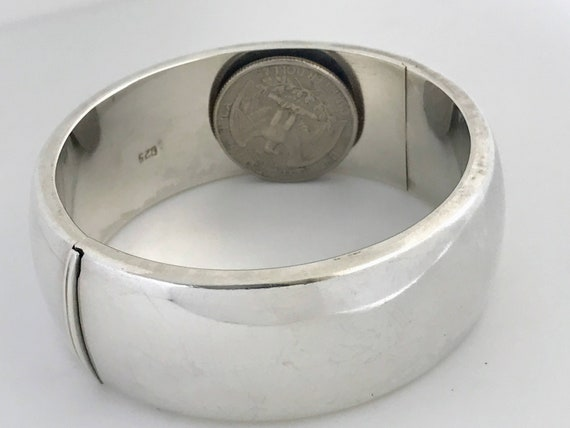 Sterling Silver Bangle Bracelet Geometric Bangle Wide Modernist Silver Bracelet Modern Bangle Bracelet 925 Bangle Taxco Bracelet  Bangle