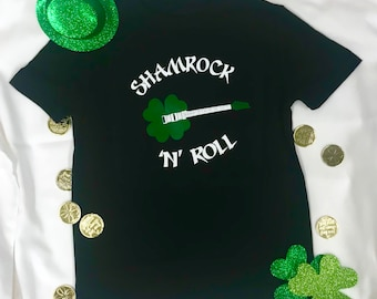 da0fe9f6fb7 Kid s and adult Shamrock n  roll T-shirt for St. Patricks Day