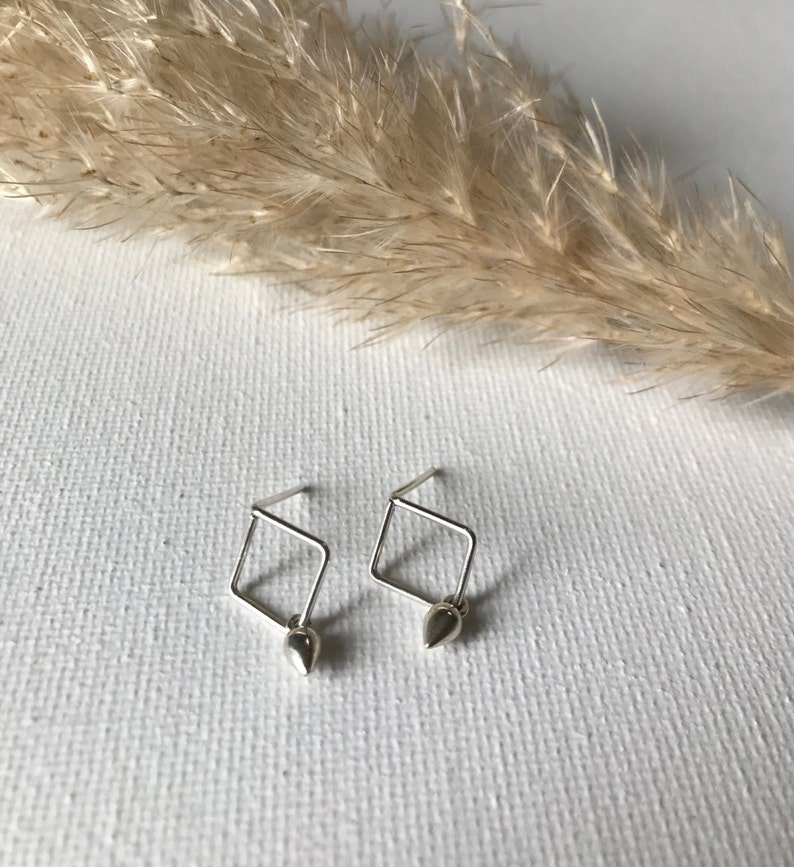 Sterling Silver Open Diamond Shaped Stud Earrings Geometric and Minimalist Jewelry Gift for Her