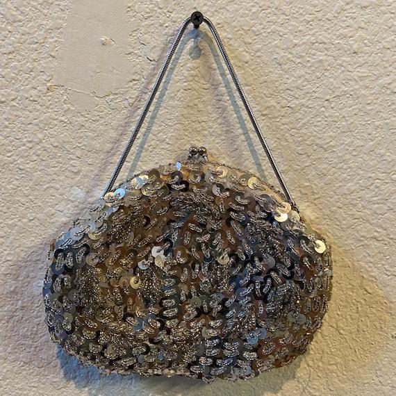 Silver Sequin Beaded Handbag