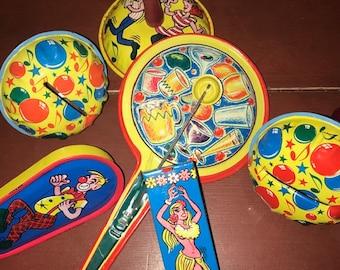 Party Favor Mardi Gras Metal Toy Cinco de Mayo Vintage Colorful Litho Tin Party Noisemaker