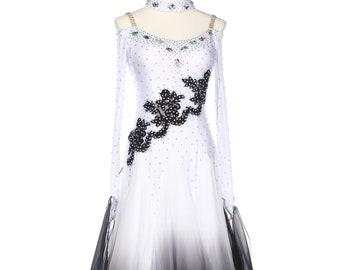 fe2d3ad55 Black Gradational Ballroom Competition Standard Waltz Smooth Foxtrot Women  Dance Dress