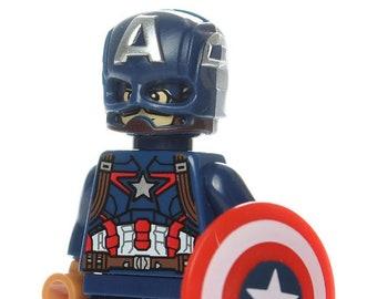 2b8760b6fe3 Captain America Steve Rogers Sam Wilson Captain Hydra custom Lego®  compatible Minifigures Marvel Comics
