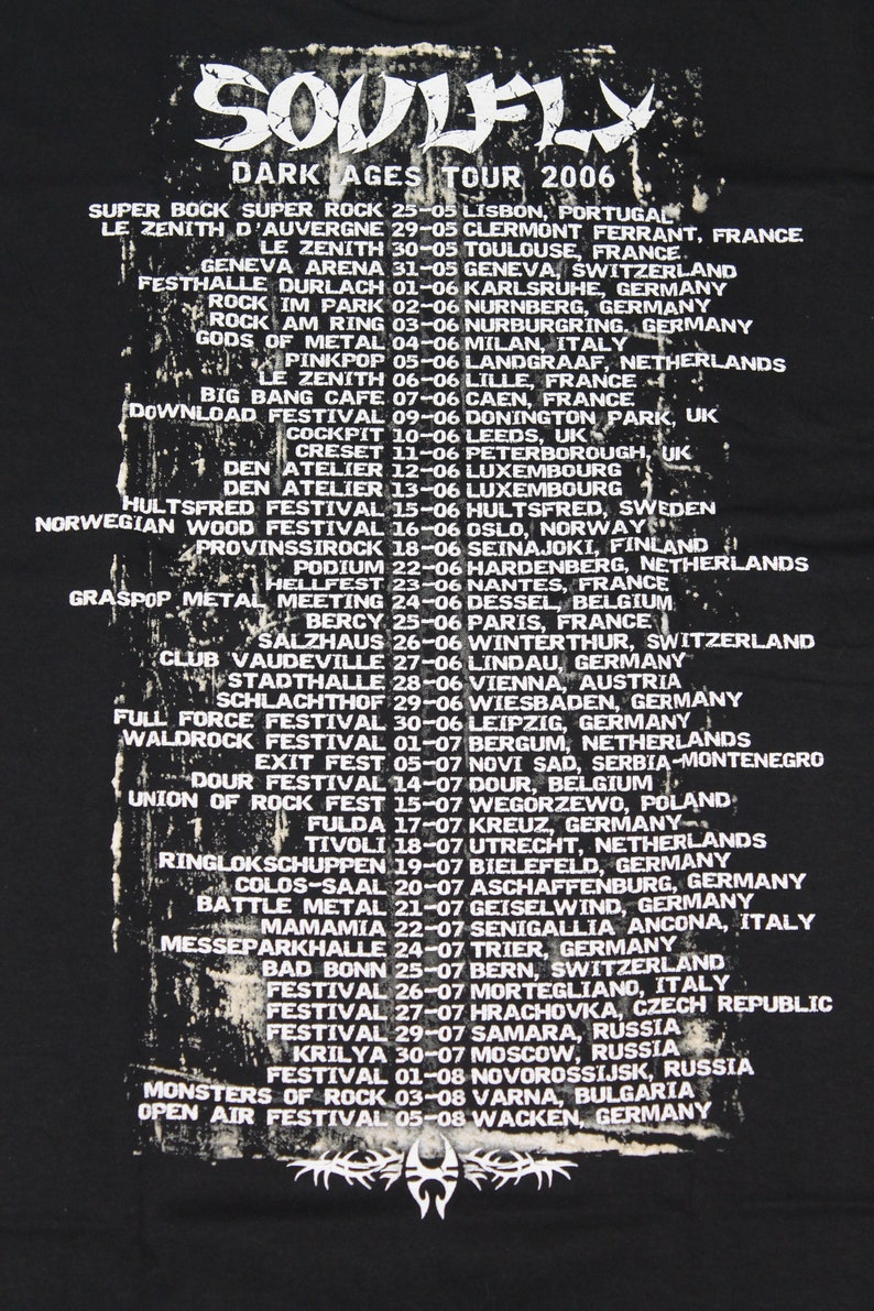 Soulfly tour shirt Dark Ages tour Groove metal band shirt Thrash metal Nu metal Men/'s size M