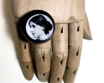 Virginia Woolf gift. Feminist gift, quirky wooden round ring.