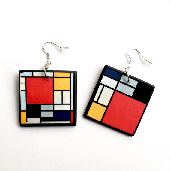 Wooden geometric red party earrings Perfect for Xmas earrings. Unique abstract modern art earrings