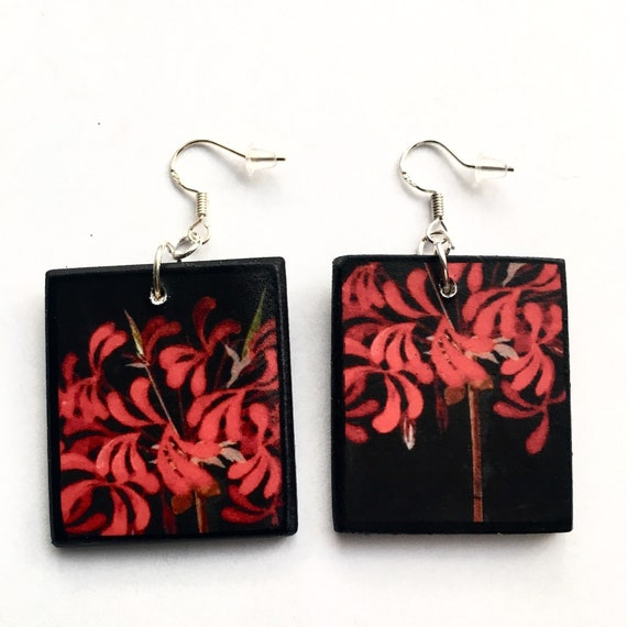 First anniversary gift for her Red flowers wooden earrings Mary Delany floral art.