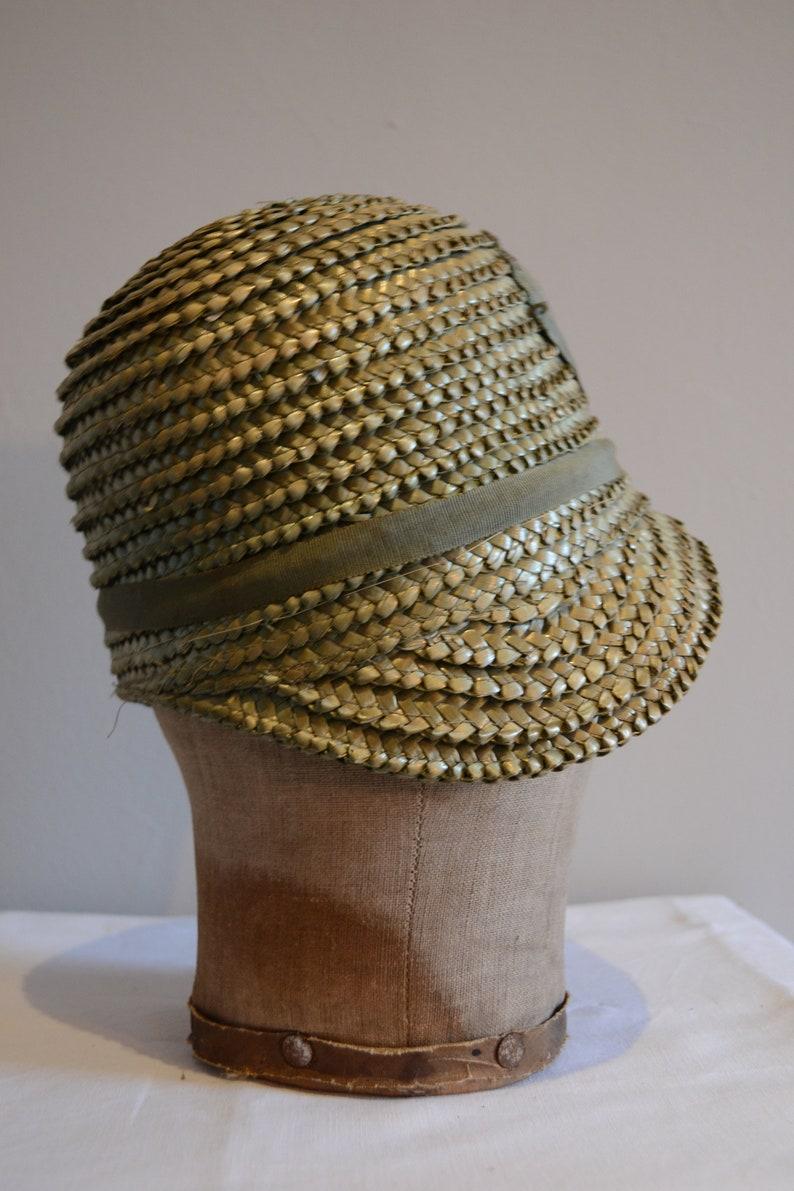 Girls green 1920/'s straw hat