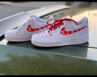 more photos 70333 8da1f Nike Air Force one x louis vuitton red white edition
