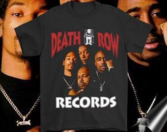 d7c7e39e Death Row Records 2 Pac Dr Dre Snoop Dog Suge Knight Rap HipHop BMT641  Black Tee
