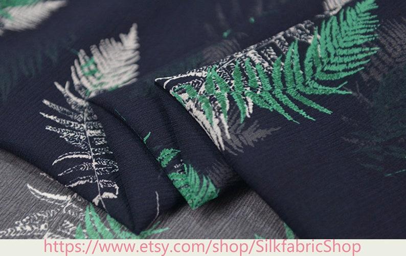 Tropical Leaves Botanical Floral Print Silk Georgette Dark Blue Fabric\uff0c Width 53 inch