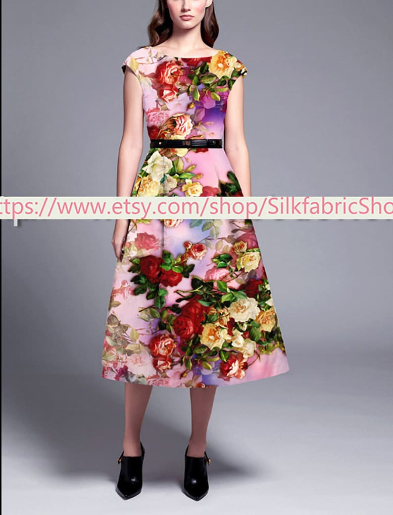 Small Floral Print Stretch Silk Satin Purple  Fabric Fashion Width 46 inch