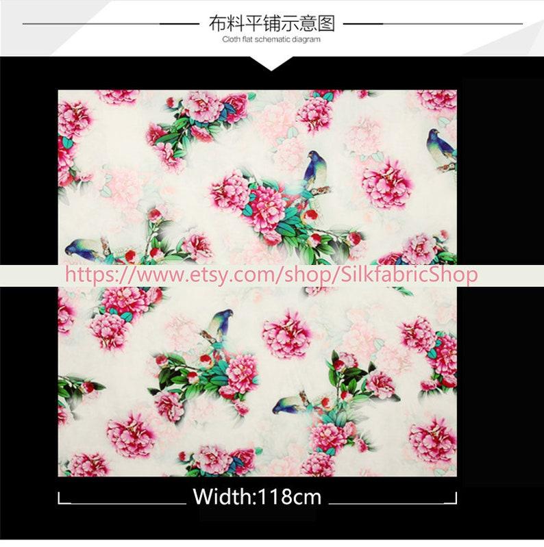 Peony Floral Print White Fabric Stretch Satin Fashion Width 46 inch