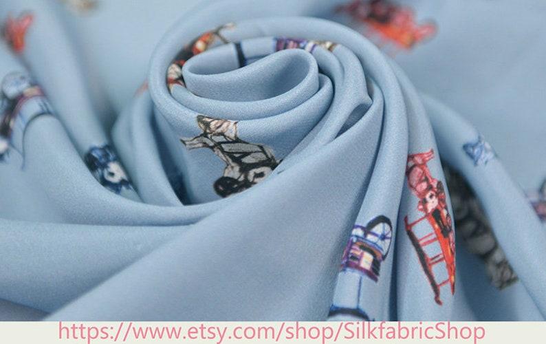 Cute Carriage pattern Blue Silk Cotton Blend Flowers Print Fabric Width 53 inch