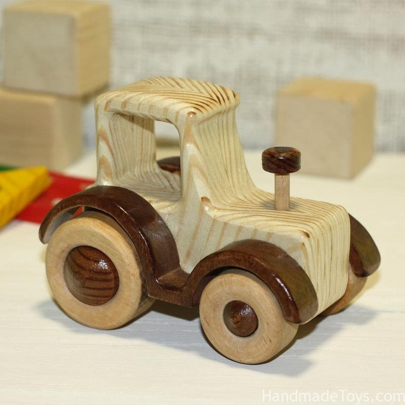 Wooden toy tractor