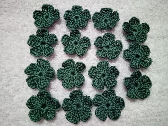 10 Crochet Flower Handmade Blue Appliques Embellishment Craft 2.5 cm free ship