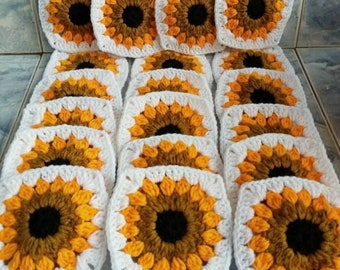 Crochet Granny Squares Handmade Sunflowers Lot of 20 size 3x3 in