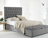 Chesterfield Headboard Divan Bed with Drawers 1000 Pocket Sprung Mattress -Any Size, Any Fabric- FREE Ottoman Blanket Box with Every Order
