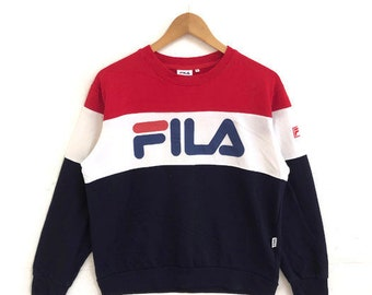 fe87774fba Fila Sweatshirt Big logo rare three stripe long sleeve streetwear unisex  medium size  2003-3-67