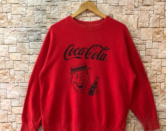 70614321429 coca cola sweatshirt long sleeve red color large size rare pullover sweater   1695-3-53