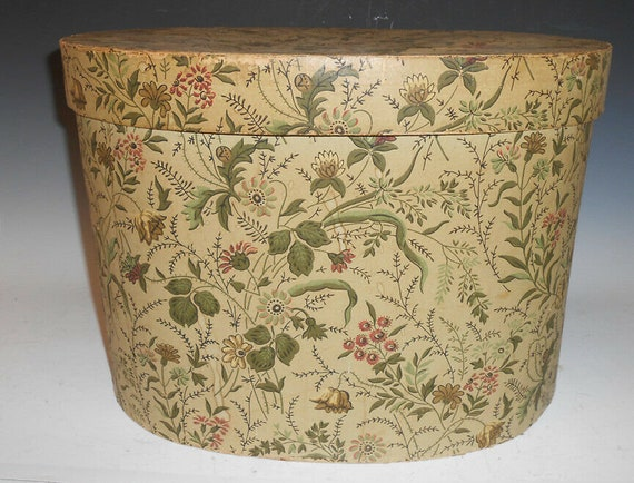 1800's Hand Colored Wallpaper Oval Hat Box