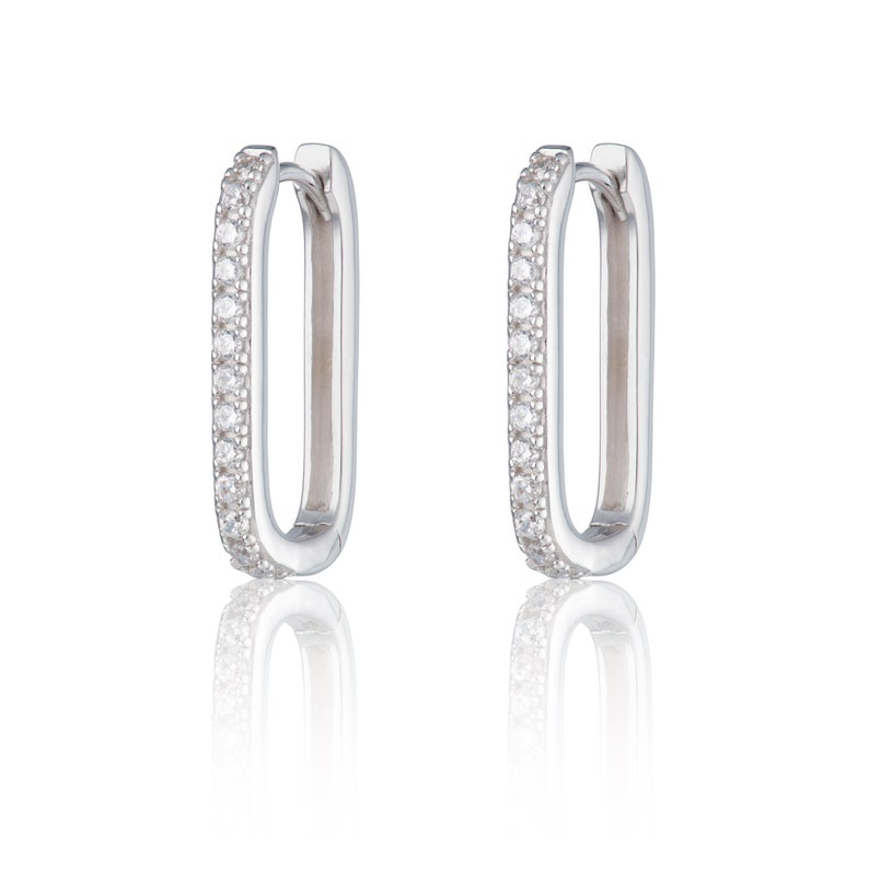 5f25a70fbf948 Oval Huggie Hoop Earrings with Clear Stones, Oval Gold Hoop, elongated  hoop, Oval Silver Hoop