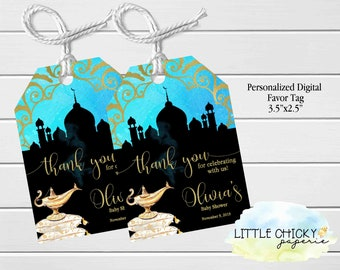 Arabian Nights Baby Shower Favor Tags, Teal and Gold Moroccan Baby Shower Thank you Tags, Printable Favor tags