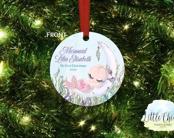 Mermaid First Christmas Ornament, 1st Christmas Ornament, Baby Girl Ornament, Mermaid Ornament, Custom Ornament keepsake, Baby Gift