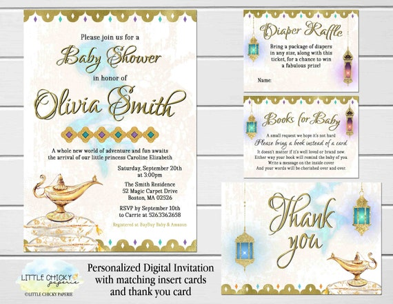 Arabian Nights Baby Shower Invitation Set With Thank You Card Etsy