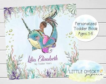 Mermaid Toddler Keepsake Journal, African American Mermaid Toddler Book, Under the Sea, Toddler Years, Ages 1-5 years