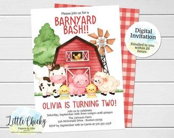 Farm Birthday Invitation, Barnyard Bash Birthday Invitation, Farm Animals, Boy Birthday, Girl Birthday, First Birthday, Digital Invitation