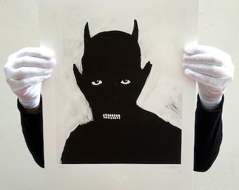 Demoness. Glicée sheet. Lowbrowart paint. Outsider art. Darkart