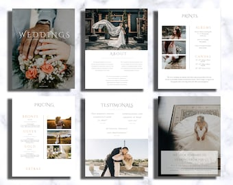 Wedding Photography Pricing Magazine Guide, Pricing template for Wedding photographer, Marketing brochure Price List template pricing guide
