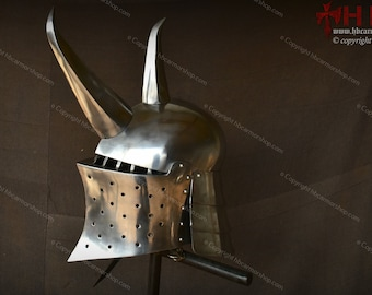 Frog Mouth Helmet with metal Horns suitable for LARP/Cosplays/costumes/Medieval -fantasy combat games