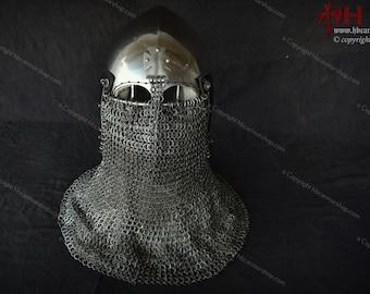 Helmet English cross Bascinet for HMB/IMCF/Medieval Steel Fight/Medieval combat sports