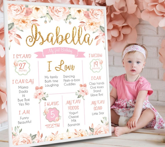 Floral Dusty Pink Gold Personalized Girl Birthday Board Girl/'s Milestone Chalkboard Printable First 1st Birthday Print Sign Poster
