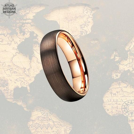 Mocha Brown Rose Gold Ring Mens Wedding Band Brown Tungsten Etsy