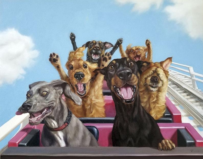 Dog poster roller coaster ride summer thrills summertime image 0