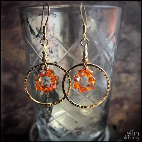 orange statement gold hoop earrings with Swarovski crystals, textured metal, Lancashire made by elfin alchemy