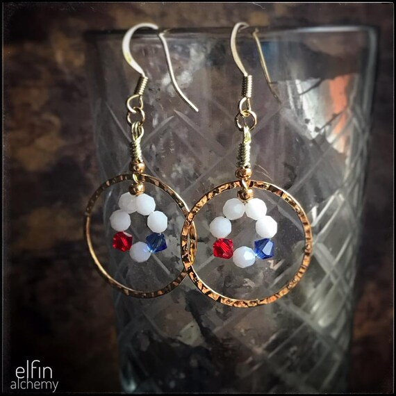 red, white and blue earrings, statement gold hoops with Swarovski crystals, footie fan jewellery, by elfin alchemy